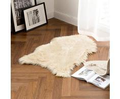 MIULEE Super weicher Flauschiger Teppich aus Kunstfell, dekorativer Plüsch-zotteliger Teppich für Nachttisch, Sofa, Boden, Kinderzimmer, Polyester-Mischgewebe, beige, 2 x 3 ft Sheepskin