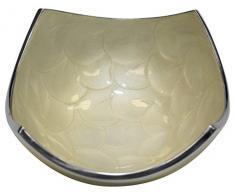 Majestic Giftware D110P Dekoschale mit elfenbeinfarbenem Stein, 6,3 x 17,8 x 15,2 cm
