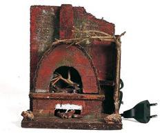 Euronatale Holzofen mit Feuer, 17 x 14 x 10 cm, Mehrfarbig