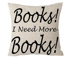 """ASTIHN Kissenbezug mit Aufschrift """"Books I Need More Book"""", inspirierendes Motto, Baumwolle, Leinen, für Zuhause, Stuhl, Büro, dekorativ, quadratisch, 45,7 x 45,7 cm"""