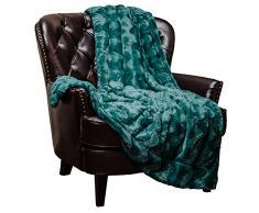 Chanasya Super Weich Warm Elegant Cozy Fuzzy Fell Flauschiges Kunstfell mit Sherpa Gewelltes Muster Plüsch Überwurf Decke (127 x 165,1 cm) – massives Wave geprägt, Polyester, blaugrün, 50x65 inches