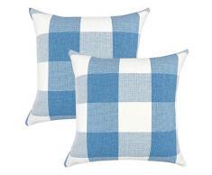 YOUR SMILE Retro-Kissenbezug, Karomuster, Baumwolle, Leinen, quadratisch, dekorativ, für Sofa, 45,7 x 45,7 cm, 2 Stück 22x22 Baby Blue/White