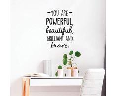 Vinyl-Wandaufkleber - You are Powerful Beautiful Brilliant and Brave - 61 x 43,2 cm - Modernes inspirierendes Liebes-Zitat für Zuhause, Schlafzimmer, Badezimmer, Frisiertisch, Büro, Dekoration