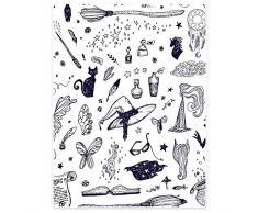 HommomH Weiche Decke, flauschig, gemütlich, warm, pflegeleicht, für Kindersofa, Fliegender Besen, Hexenhut, schwarze Katzenzauber Chinesisch 30 x 40 weiß