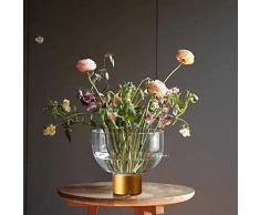cyl Home Vasen aus transparentem Glas, Blumenarrangement, Vase mit Messing-Ständer, Dekoschale, Kerzenhalter, Tischdekoration für Esszimmer, Wohnzimmer, Hochzeitsgeschenk Modern 4.7 H x 2 D