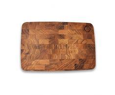 De Bois Board – Steak, 34 x 23,1 x 1,5 cm L Bio Teak Serviertablett L Teak Board L Steak & Mahlzeit Board L nicht giftig Holz Küchenutensilien L Geschenk für servieren Happiness Wooden Rectangle holzfarben