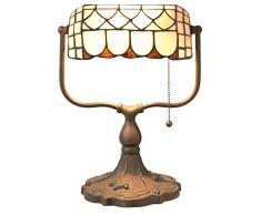 Lumilamp 5LL-5729 Schreibtischlampe Burolampe Tiffany Stil Weiss/Braun 26 * 21 * 37 cm E27 max. 60w. dekoratives buntglas Tiffany Stil