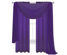 WPM World Products Vorhang/Schal/Behandlung, schönes, durchscheinendes Voile-Vorhänge für Schlafzimmer und Küche, komplett genäht und gesäumt 3 Piece Panels+Scarf dunkelviolett