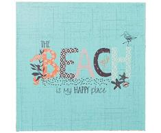 Leinwandplakette, Motiv: Pavillon, The Beach is My Happy Place, 22,9 x 22,9 cm, Blaugrün/Orange