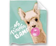 Loong Design No Drama Llama Überwurf, super weich, flauschig, Premium-Sherpa-Fleece-Decke, 127 x 152 cm, passend für Sofa, Stuhl, Bett, Büro, Reisen, Camping, Geschenk 50x 60 Faultier