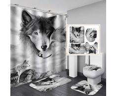 Fashion&Man 16 Stück/Set Wolf Duschvorhang aus Polyester 180x180cm Anti-Schimmel Badvorhänge Waschbar Anti-Bakteriell Badteppiche rutschfest Badematten Set 3 Teilig mit 12 Duschvorhangringen, Stil 3