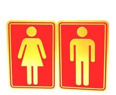 eyesonme Mann Frau Bad WC Aufkleber Toilette WC Aufkleber Toilette Dekor Kunst Wand Home Hotel Büro Schule Restaurant Zimmer Dekoration Reflektieren Gold Rot Selbstklebende Folie 2 Maß Aufkleber 8,5 x 12,5 cm