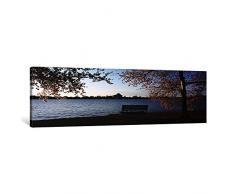 iCanvasART, Park Bench mit EIN Denkmal im Hintergrund, Jefferson Memorial, Gezeiten, Waschbecken, Potomac River, Washington DC, USA Leinwand Kunstdruck Panorama Bilder, 1,5 von 48 von 40,6 cm