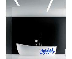 Vinyl-Wandaufkleber - Spritzer - 25,4 x 58,4 cm - lustige Wet Letters Home Bad Badewanne Dusche Decor - Schlafzimmer Wohnzimmer, Kinderzimmer Aufkleber - Seifenblasen Wasser Muster 10 x 23 blau