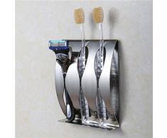 Zahnbürstenhalter Ständer für Rasierer, Edelstahl selbstklebend Wand montiert Zahnbürstenhalter Accessoires für Bad WC HOME Speicherung und Organizer, 3 Löcher