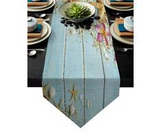 Tischläufer aus Baumwolle/Leinen, für Kommode, Schals, Sandstrand, Muscheln und Gelb, rutschfest, für Hochzeit, Party, Urlaub, Abendessen, Zuhause 14x72 inches Beach-0463