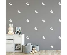 Set mit 12 Vinyl-Wandaufklebern - Hasen - 10,2 x 10,2 cm - lustige Kaninchen für Schlafzimmer, Wohnzimmer, Wohnzimmer, Kinderzimmer, Spielzimmer - niedliche kleine Kinder, Kleinkinder, Teenager drinnen und draußen Modern 4 x 4 weiß
