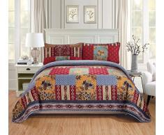 K&M MK Hause über Größe Set Decke Tagesdecke Gesteppt Patchwork Blumen Quadrate Rot Marineblau Elfenbein Burgund Neu # Verona King/California King Rot