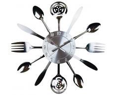 Geko Küchenutensilien und Besteck-Wanduhr, 38 cm, Silberfarben, groß, Einheitsgröße