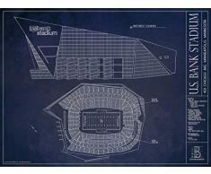 US Bank Stadium Blueprint Print