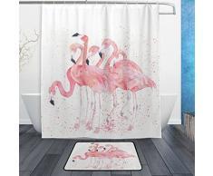 Flamingo Vogel Wasserdicht Polyester Stoff Vorhang für die Dusche (152,4 x 182,9 cm) Set mit 12 Haken und Bad-Teppiche Teppiche (59,9 x 39,9 cm) für Badezimmer – Set von 2, Polyester-Mischgewebe, Multi5, 60 x 72 Curtain & 23.6 x 15.7 Mat