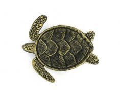 Hampton Nautical Handarbeit Maritimes Dekor Gusseisen Meer Schildkröte Deko-Schale, Gold, 18 cm