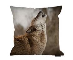 HGOD DESIGNS Kissenbezug, witziges Wildtier-Wolf-Schrei Baumwolle Leinen Polyester Dekorative Home Decor Sofa Schreibtisch Stuhl Schlafzimmer 40,6 x 40,6 cm 18x18 Inch A11-0137