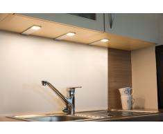 LED Unterbauleuchte Cortina 3er Set silber, warmweiß bis tageslichtweiß, mit Fernbedienung.