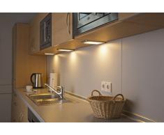LED Unterbauleuchte SASCHA 3er Set silber, warmweiß, mit Sensorschalter
