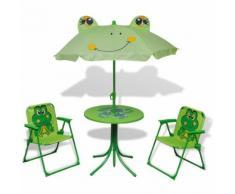 vidaXL Garten-Sitzgruppe für Kinder mit Sonnenschirm Grün