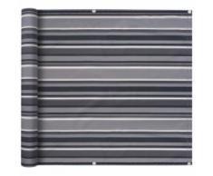 vidaXL Balkonsichtschutz Oxford-Gewebe 75 x 600 cm Grau Gestreift