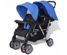 vidaXL Geschwisterwagen Stahl blau und schwarz