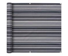vidaXL Balkonsichtschutz Oxford-Gewebe 90 x 400 cm Grau Gestreift