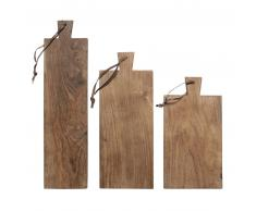 HK living Breadboards Teak Schneidebrett 3er Set