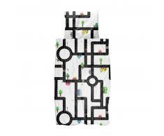 SNURK Clay Traffic Kinderbettwäsche - weiß - 100x135 / 40x60 cm