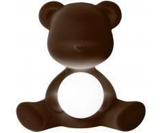qeeboo Teddy Girl Rechargeable Lamp Velvet Finish Tischleuchte - dark brown - 35 x 24 x 32 cm