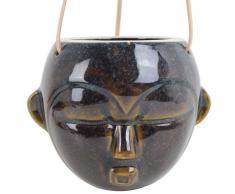 Present Time Mask hängender Blumentopf rund - dark brown - 12 x 18,4 x 15,2 cm - Länge Lederband 66 cm