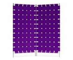 Hey-SIGN Geflecht Paravent mit 2 Wandelementen - violett - 2 x B 80 x H 180 cm - mit schwarzem Rahmen