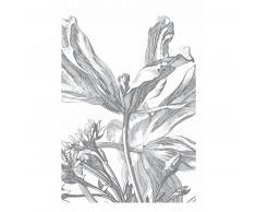 KEK Amsterdam Engraved Flowers III Fototapete - grau - 194,8 x 280 cm (= 4 Bahnen)
