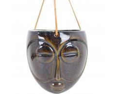 Present Time Mask hängender Blumentopf glasiert - dark brown - 16,5 x 13,6 x 17,9 cm - Länge Lederband 66 cm