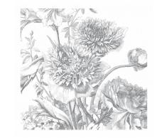 KEK Amsterdam Engraved Flowers IV Fototapete - grau - 292,2 x 280 cm (= 6 Bahnen)
