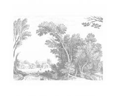 KEK Amsterdam Engraved Landscape V Fototapete - grau - 389,6 x 280 cm (= 8 Bahnen)