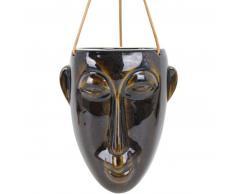 Present Time Mask hängender Blumentopf lang - dark brown - 12,5 x 17,3 x 22,3 cm - Länge Lederband 66 cm