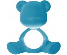qeeboo Teddy Girl Rechargeable Lamp Velvet Finish Tischleuchte - light blue - 35 x 24 x 32 cm