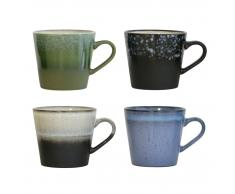 HK living Ceramic 70's Cappuccino-Tassen 4er-Set