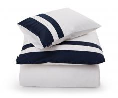 Lexington Blue Border Sateen Bettdecken-Bezug