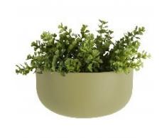 Present Time OVAL Wand-Blumentopf breit - matt olive green - 20x10,8x9,5 cm