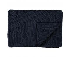 Marc O'Polo Nordic knit Strickdecke aus Bio-Baumwolle - indigo blue - 130x170 cm