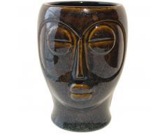 Present Time Mask Blumentopf - dark brown - 18,5 x 16 x 22,2 cm