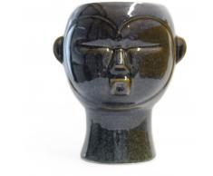 Present Time Mask Blumentopf rund - dark brown - 18,7 x 17,8 x 22 cm
